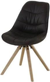 Scaun Negru cu Picioare din Lemn LICIA - Textil Negru Lungime(50 cm) x latime(55 cm) x Inaltime(84 cm)