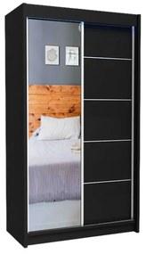 Expedo Dulap cu uși glisante și oglindă ELVIRA, negru, 120x216x61