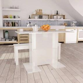 800249 vidaXL Masă de bucătărie, alb lucios, 110 x 60 x 75 cm, PAL