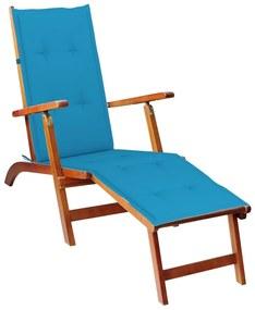 3064018 vidaXL Șezlong exterior, suport picioare și pernă, lemn masiv acacia