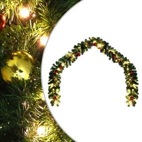 246406 vidaXL Ghirlandă de Crăciun decorată cu globuri și becuri LED, 5 m
