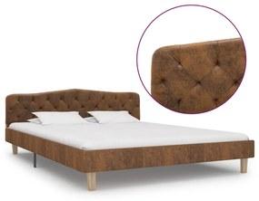 284940 vidaXL Cadru de pat, maro, 160 x 200 cm, piele întoarsă ecologică
