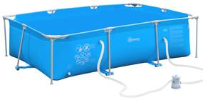 Outsunny Piscina supraterana, Filtru/Supapa din otel/PVC, Piscina de Gradina pentru Adulti si Copii 291x190x75cm, Albastru