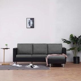 282204 vidaXL Canapea cu 3 locuri cu perne, negru, piele ecologică