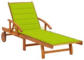 3061613 vidaXL Șezlong de grădină cu pernă, lemn masiv de acacia