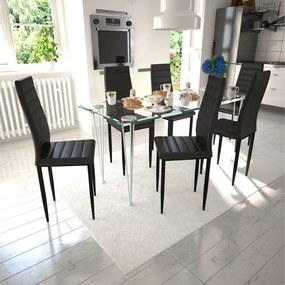271477 vidaXL Scaune de bucătărie, 6 buc., negru, piele ecologică