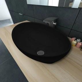 140675 vidaXL Chiuvetă baie ovală, Negru