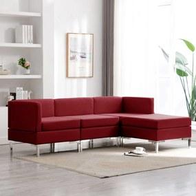 3052747 vidaXL Set de canapele, 4 piese, roșu vin, material textil
