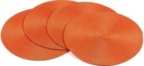 Suport farfurie Deco, rotund, portocaliu, diam. 35 cm, set 4 buc.