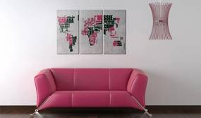Tablou - Map of the World (French language) - triptych 60x40 cm