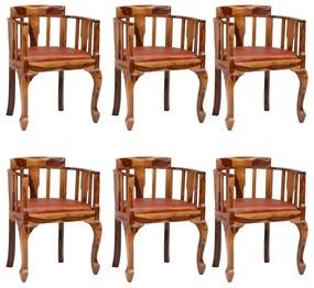279140 vidaXL Scaune de bucătărie, 6 buc., piele și lemn masiv de sheesham