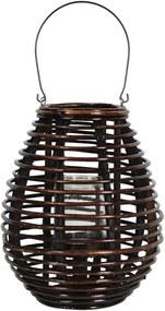 Felinar suspendabil din lemn maro cu pahar sticla Ø 29 cm x 35 h
