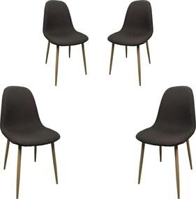 Set 4 scaune dining MF DIEGO, stil scandinav, textil, picioare metalice, maro