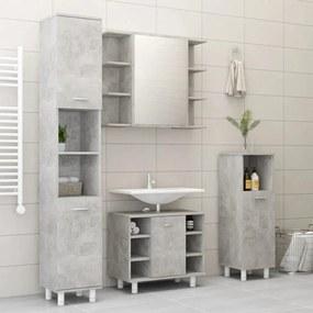 3056902 vidaXL Set mobilier baie, 4 piece, gri beton, PAL