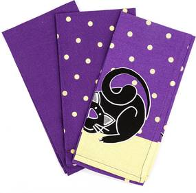 Șervet de bucătărie Pisică violet, 50 x 70 cm, set 3 buc.