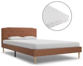 277345 vidaXL Pat cu saltea, maro, 120 x 200 cm, material textil