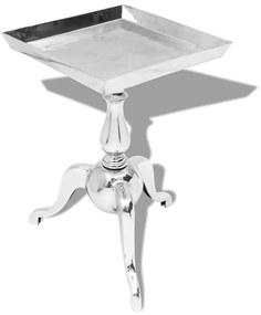 243511 vidaXL Masă laterală pătrată din aluminiu, argintiu