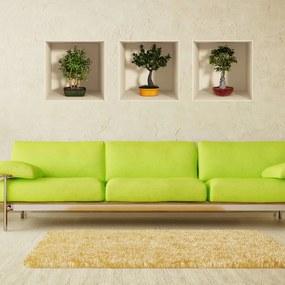 Set autocolante cu efect 3D Ambiance Bonsai Trees, 3 buc.