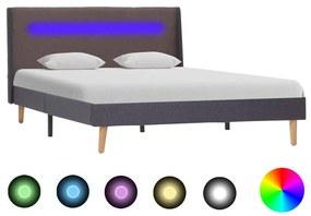 286705 vidaXL Cadru de pat cu LED, gri taupe, 120 x 200 cm, material textil