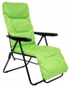 Sezlong pentru gradina, metalic, cu perna,verde,60x83x107 cm