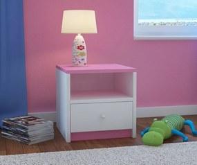 Noptieră pentru copii roz-albă noptiera - roz-alb