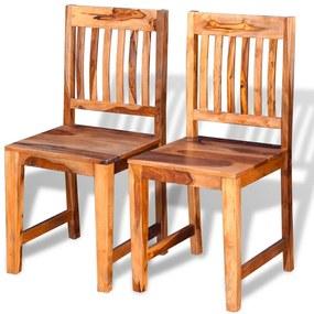 243281 vidaXL Scaune de bucătărie 2 buc, lemn masiv de sheesham