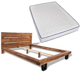 274856 vidaXL Pat cu saltea, spumă memorie, 140 x 200 cm, lemn de acacia