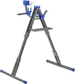 [pro.tec]® Stand reparat bicicleta, 66 x 33 x 11.5 cm, reglabil cu suport scule, metal, gri/albastru