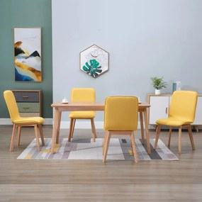 248923 vidaXL Scaune de bucătărie 4 buc, galben, textil & lemn stejar masiv