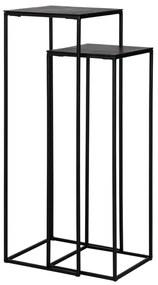 Set 2 masute consola Bolder, Aluminiu Fier, Negru, 102 86.5x36 32x36 32 cm