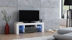 Mazzoni Masă RTV MILANO 110 + LED albă, cu sertar gri
