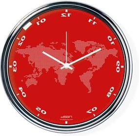 Ceas invers cu o hartă mondială - roșu, diametru 32 cm | DSGN
