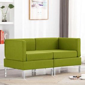 287045 vidaXL Canapele de colț modulare cu perne, 2 buc., verde, textil