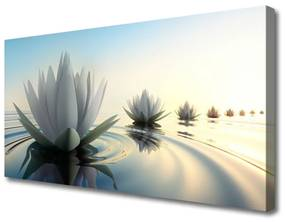 Tablou pe panza canvas Flori de apă Art Alb Albastru