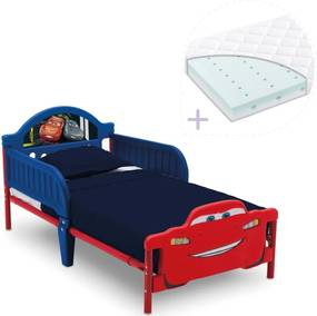 Set pat cu cadru metalic Cars Team 3D si saltea pentru patut Dreamily - 140 x 70 x 10 cm