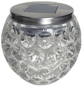 LAMPA SOLARA LED PENTRU TERASA/GRADINA, MODEL GLOB, 10X9.5 CM, ARGINTIU, STICLA