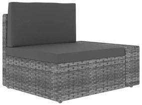 49519 vidaXL Canapea de colț modulară cu cotieră stânga, gri, poliratan