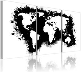 Tablou - The World map in black-and-white 60x30