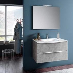 Set de baie cu 4 piese MALMO, Melamina Aluminiu Abs Sticla Ceramica Metal, Gri, 91x46.5x190 cm