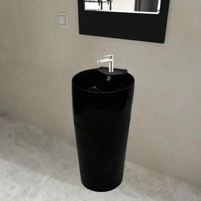 141943 vidaXL Chiuvetă ceramică verticală rotundă baie bazin/Gaură scurgere, negru
