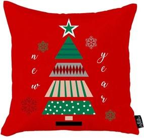 Față de pernă cu model de Crăciun Apolena Christmas Tree, 45 x 45 cm, roșu