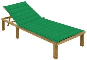 3065824 vidaXL Șezlong cu pernă verde, lemn de pin tratat