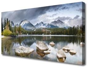 Tablou pe panza canvas Mountain Lake Forest Peisaj Gri Maro Verde