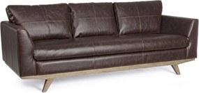 Canapea 3 locuri picioare lemn tapitata cu piele ecologica maro Johnstone 213 cm x 90 cm x 82 h x 45 h1 x 65 h2 x 65 h3