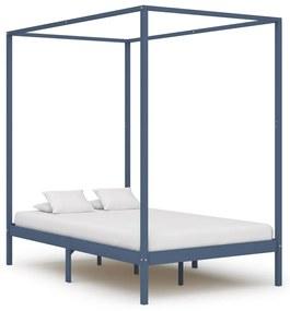 283277 vidaXL Cadru pat cu baldachin, gri, 140 x 200 cm, lemn masiv de pin