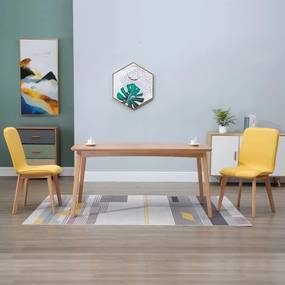 248922 vidaXL Scaune de bucătărie 2 buc, galben, textil & lemn stejar masiv