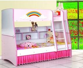 Patut copii , pat supraetajat MDF 90x190 cm roz