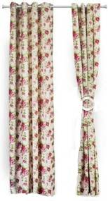 Set de 2 draperii Heinner din bumbac 100%, model flori roz, HR-DR140-FLWPK HR-DR140-FLWPK