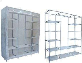 Dulap din material textil Kaja Maxi pentru depozitare incaltaminte, imbracaminte sau accesorii, cadru metalic, 12 rafturi, culoare Bej