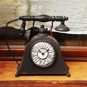 Ceas Old Town in forma de telefon din metal negru 26x24 cm